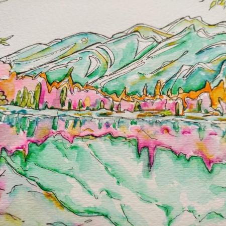 Jasper Maligne Lake Painting 4