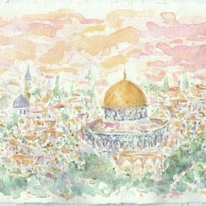 Israel Temple Mount Watercolor Painting On Handmade Watercolor Paper By Aeris Osborne
