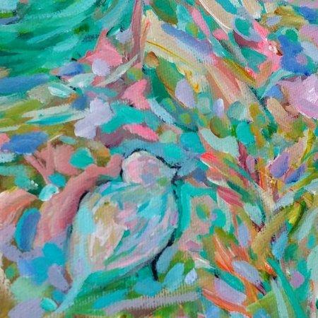 Small Blue Bird 8 x 8 Acrylic Painting By Aeris Osborne 3