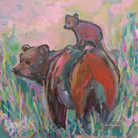 Grizzly Bear And Cub Original Acrylic Painting Aeris Osborne