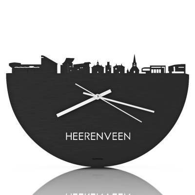 Heerenveen Skyline Black Clock Front
