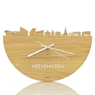 Heerenveen Skyline Oak Clock Front