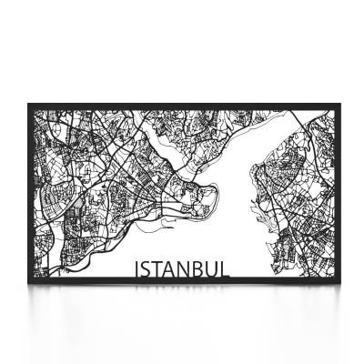 Istanbul Skyline Black City Map Front