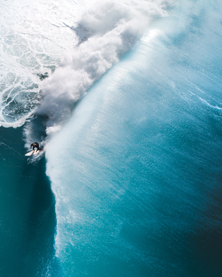 Aerial of Surfer on Wave