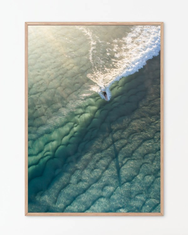 Surfer On Wave Aerial Print