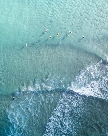 Aerial Of Surfers At Broken Head