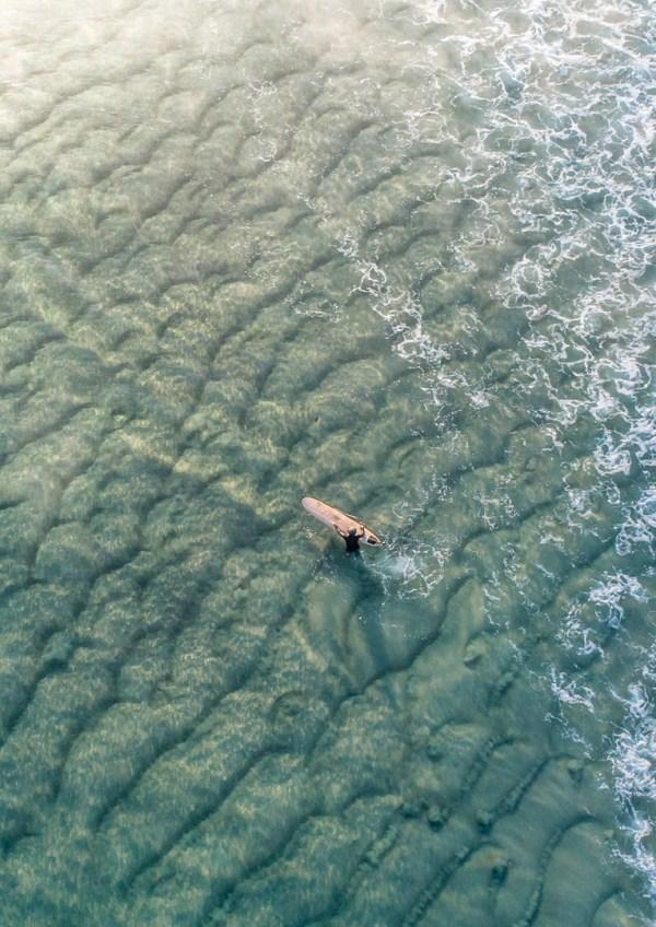 Longboard Surfer In Ocean Photography Print