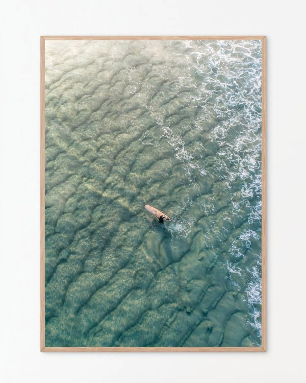 Longboard Surfer In Ocean Photography Print