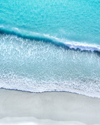 Aerial of Beach and Waves