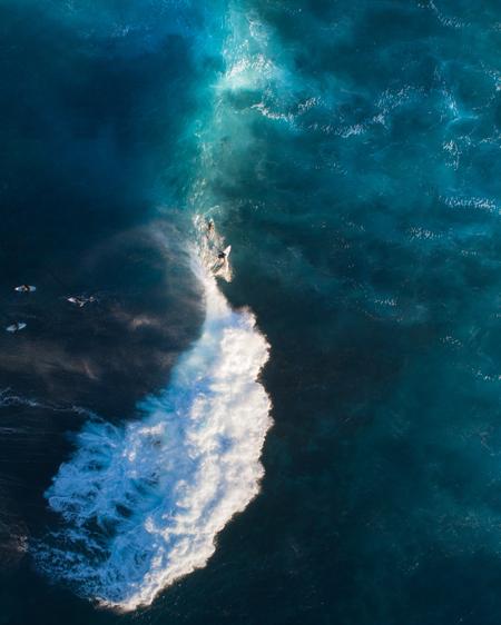 Aerial Of Surfer In Ocean