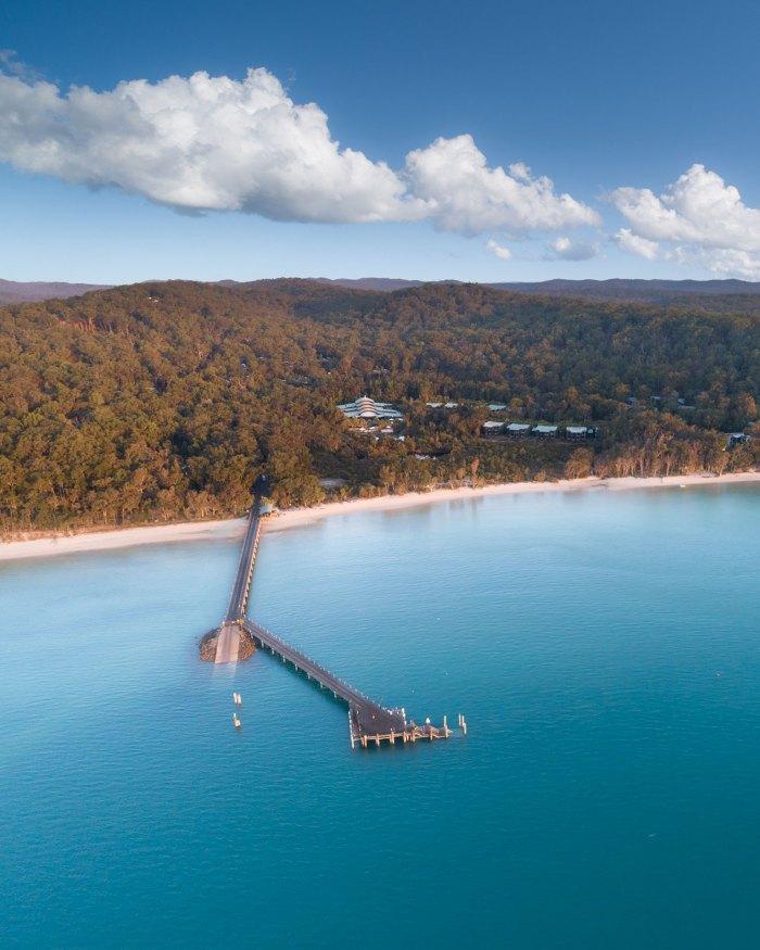 Kingfisher Bay Resort Pier Aerial