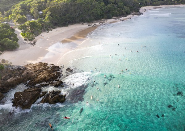 Surfers at The Pass, Byron Bay Aerial Print