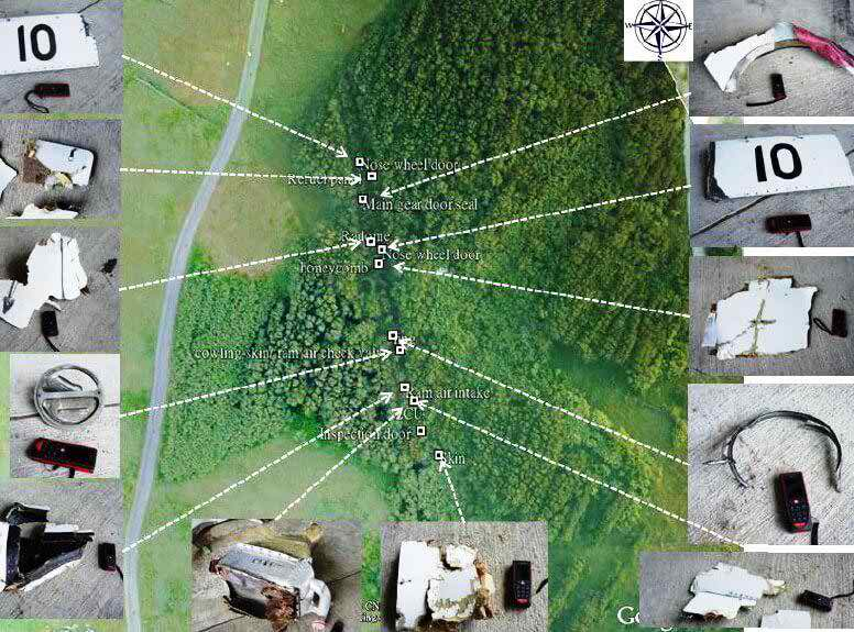 The Taiwan Aviation Safety Council mapped the location of parts from the wreckage using their drone survey. Credit: Taiwan Air Safety Council. #thenewscompany #aerobdnews