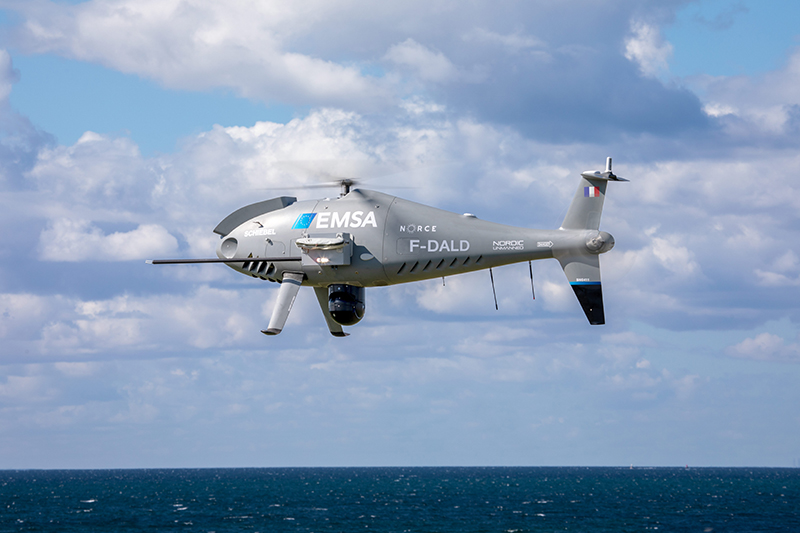 SCHIEBEL CAMCOPTER S-100 AND NORDIC UNMANNED MONITOR SHIP EMISSIONS FOR EMSA IN FRANCE