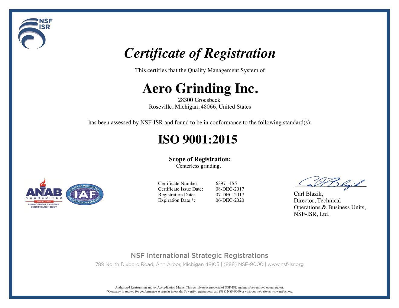 aero grinding iso certificate
