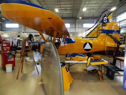 Note the B-17 wing tip in the foreground here. The Stinson 108 is getting lots of TLC during its restoration.