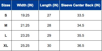 Moon hoodie size chart