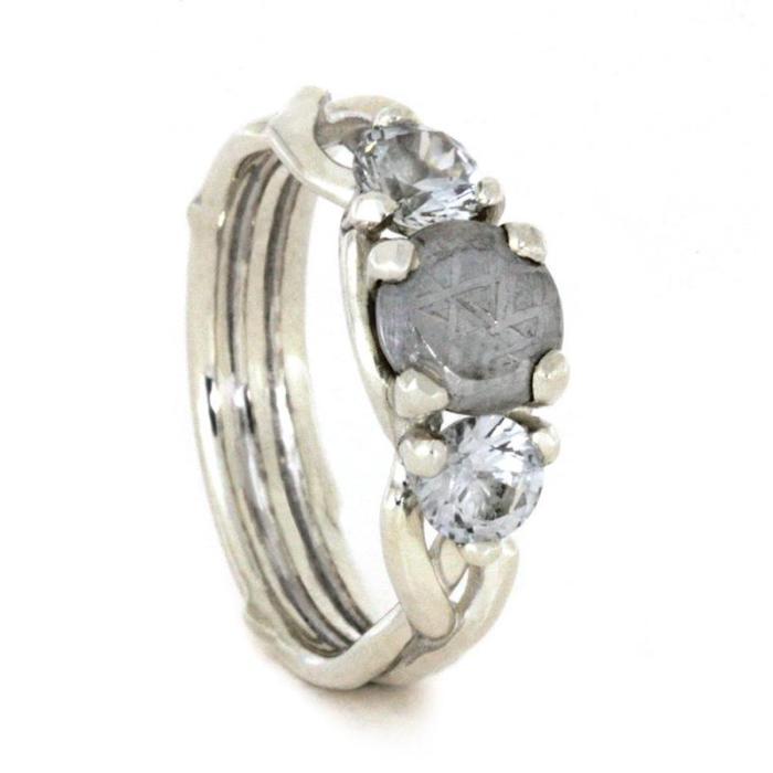 white sapphire meteorite ring