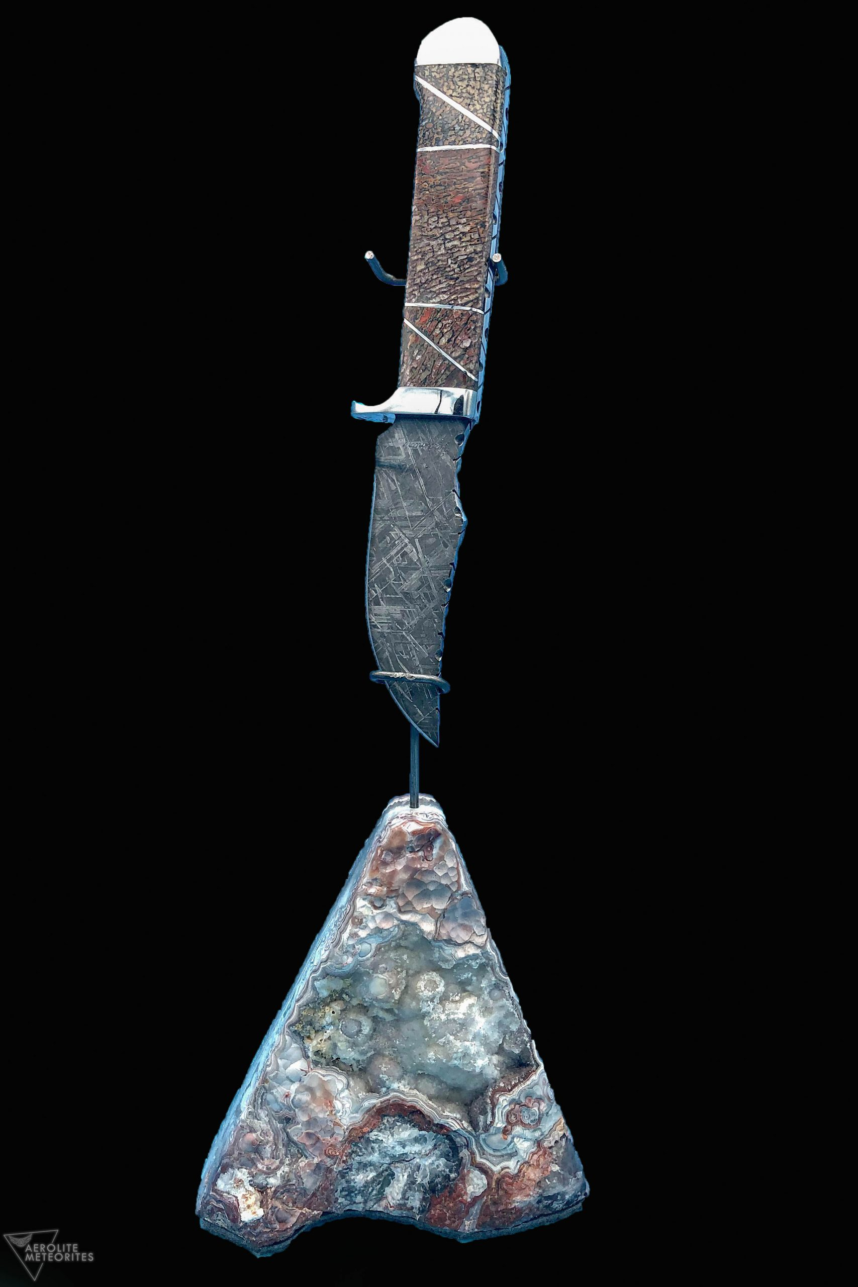 meteorite and dinosaur bone knife