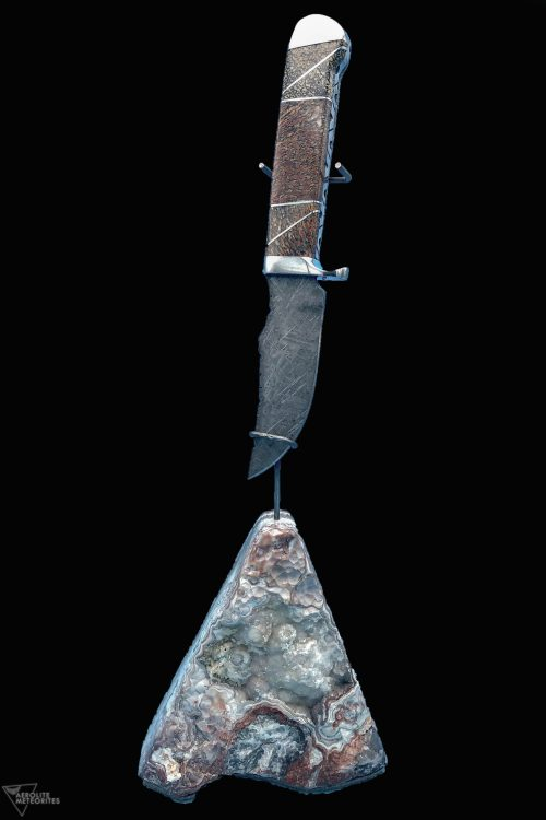 meteorite and dinosaur bone knife 393