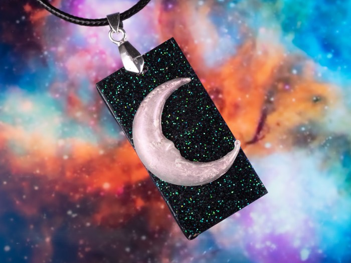 rectangle moon and stone necklace