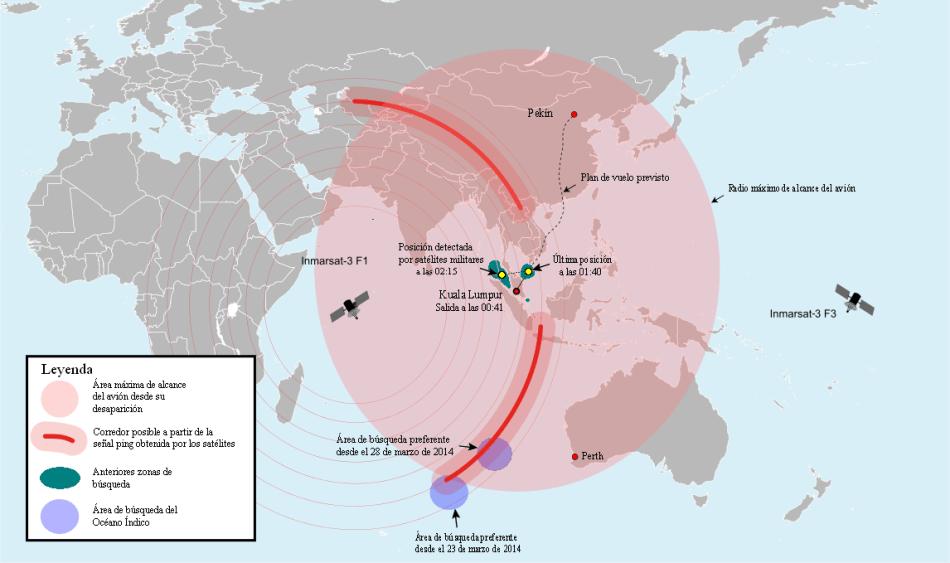 Áreas de búsqueda del avión hasta marzo de 2014.