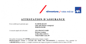 Attestation d'assurance
