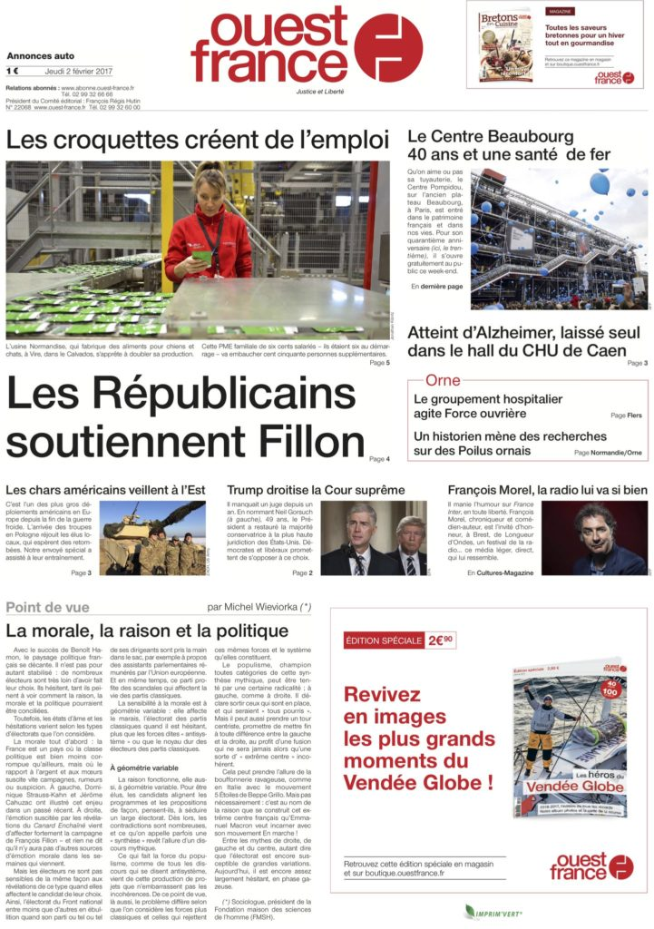 Une de Ouest-France du 2 février 2017