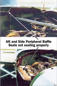 Aft and side peripheral baffle seals not sealing properly