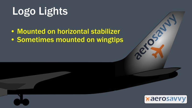 Logo lights - Savvy Passenger Guide to Airplane Lights- AeroSavvy