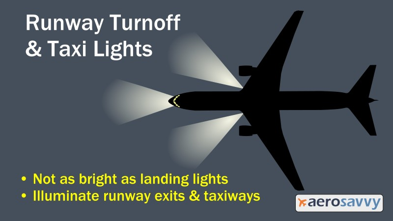 Runway turnoff and taxi lights - Savvy Passenger Guide to Airplane Lights- AeroSavvy