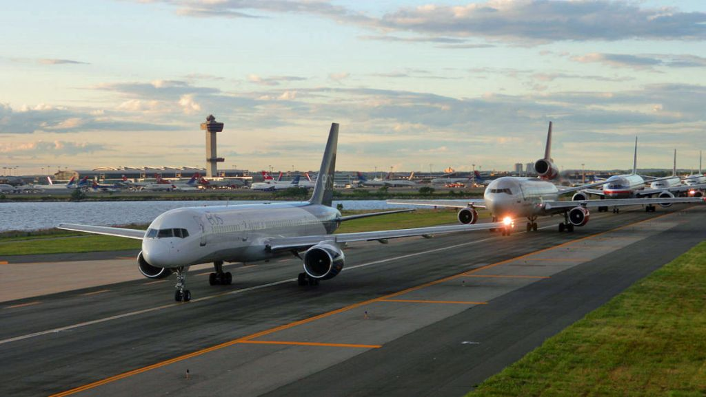Long line of airliners waiting to takeoff at JFK airport. You might be a cargo pilot... - AeroSavvy