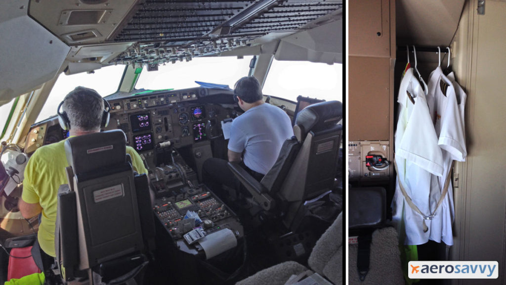 767 freighter cockpit. Crew at the controls wearing t-shirts. Closet behind cockpit has uniform shirts hanging on hangers. You might be a cargo pilot... - AeroSavvy