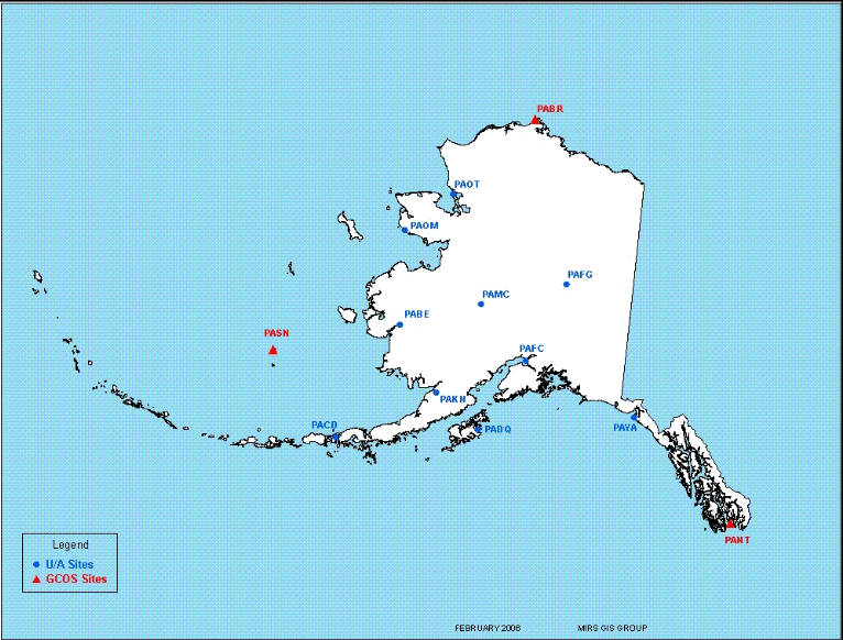 Map of Alaska showing 13 balloon launch locations