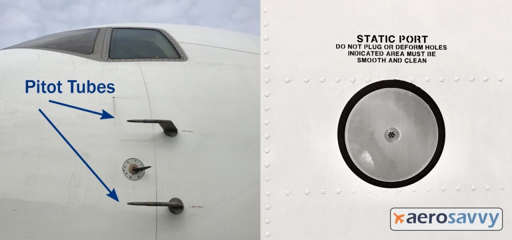 "left side of 767 nose with two el shaped pitot tubes projecting out the side of the fuselage beneath the cockpit windows. Another image shows a static port on side of fuselage (6 inch diameter shiny aluminum circle with several small holes in the center. Warning placard above says: ""Static port: Do not plug or deform holes indicated area must be smooth and clean"")"