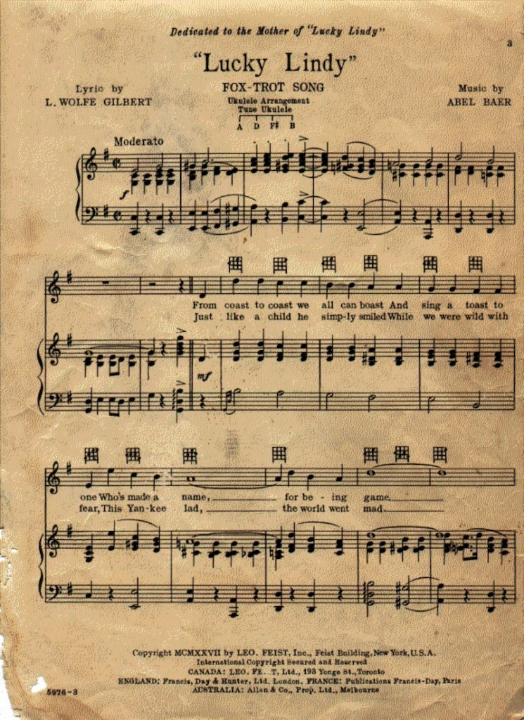 old, yellowed first page of Lucky Lindy sheet music