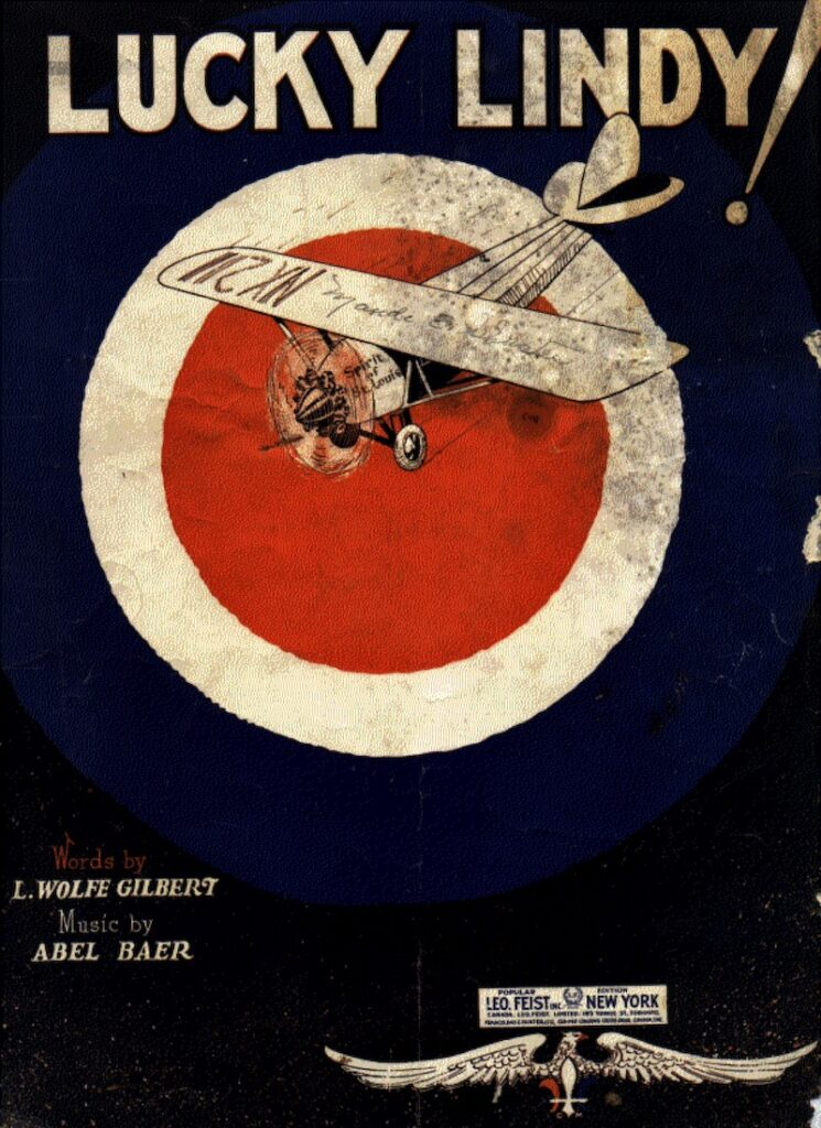 Cover page of Lucky Lindy sheet music with an image of a high wing aircraft that's a very poor representation of Spirit of Saint Louis.