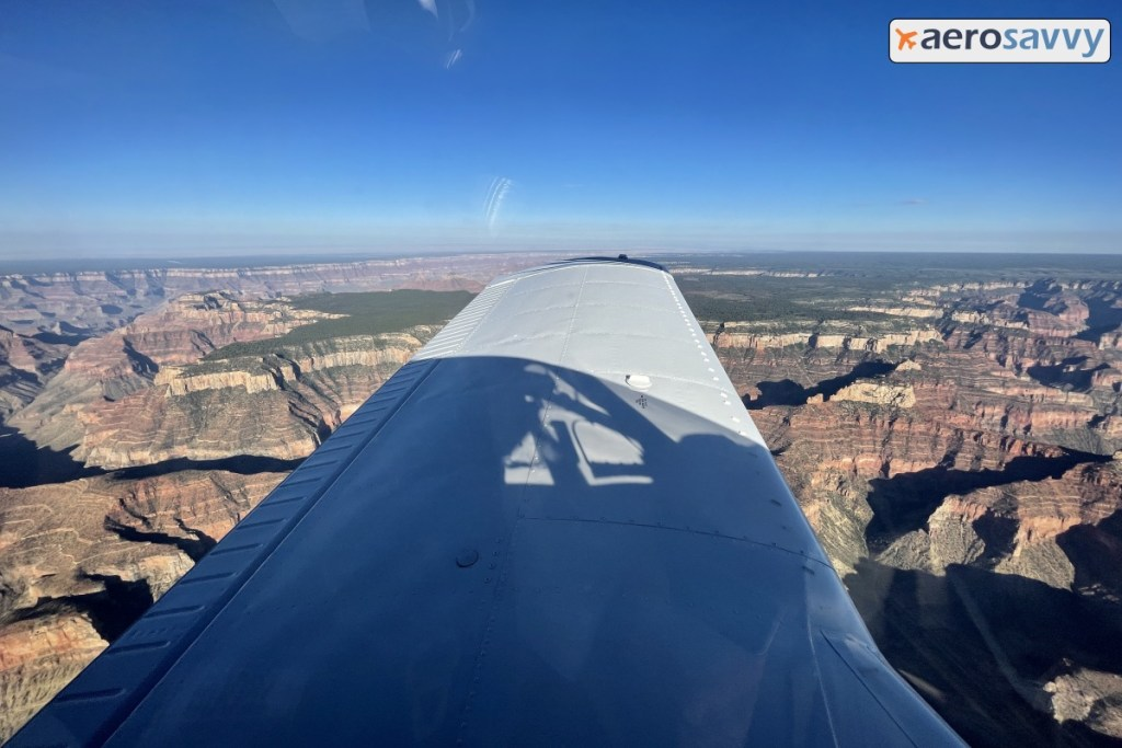View over left wing over the Grand Canyon.