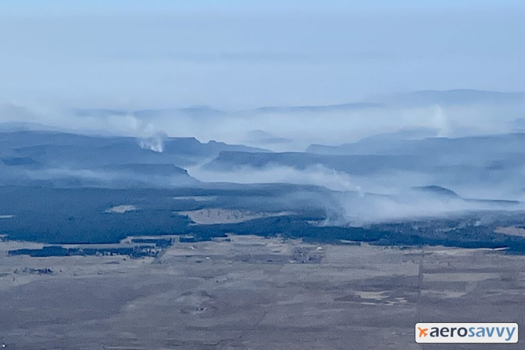 smoke in and around hills south of Flagstaff