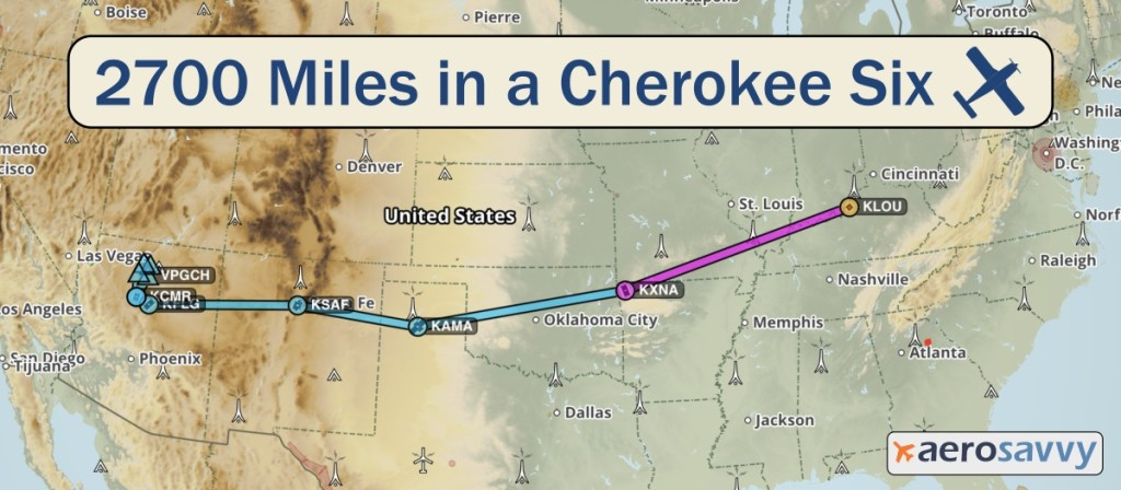 Map of U.S. with our route from Louisville to Bentonville, Amarillo, Santa Fe, Flagstaff.