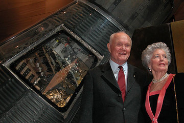 John Glenn with Annie Wife with Friendship 7 capsule