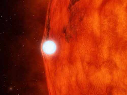White Dwarf crossing in front of a small Red Star