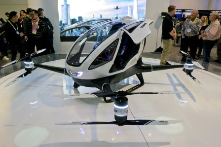 Ride hailing in future: Image of a Ehang 184 electric passenger drone