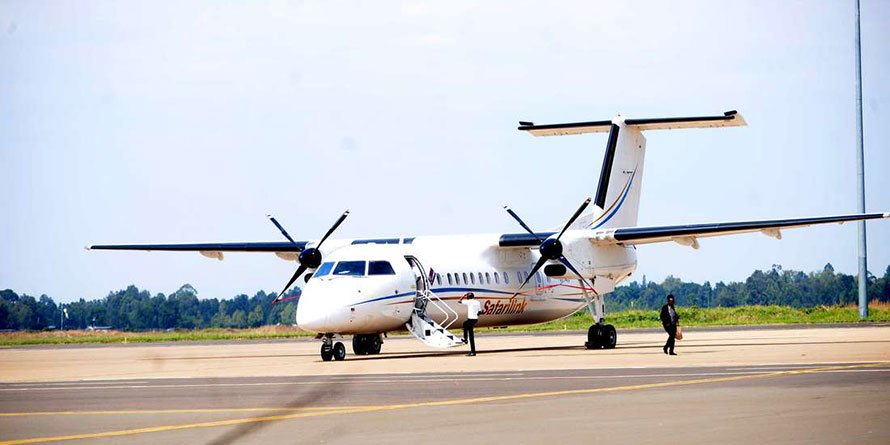 A Safarilink plane during the launch of the inaugural flights from Wilson Airport