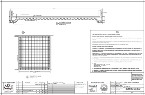 garage pad plan section and reinforcement detailing