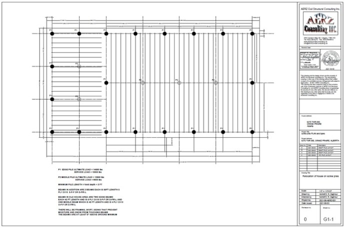 screwpile layout for relocated house in Alberta
