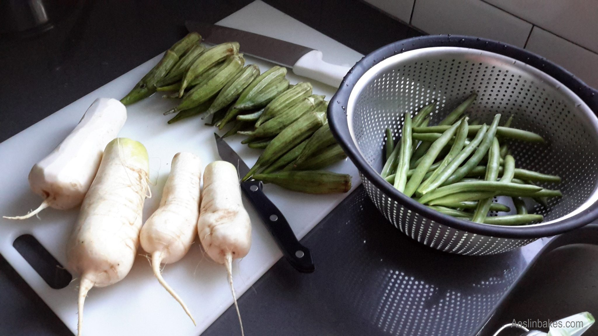baby radishes, okra and green beans