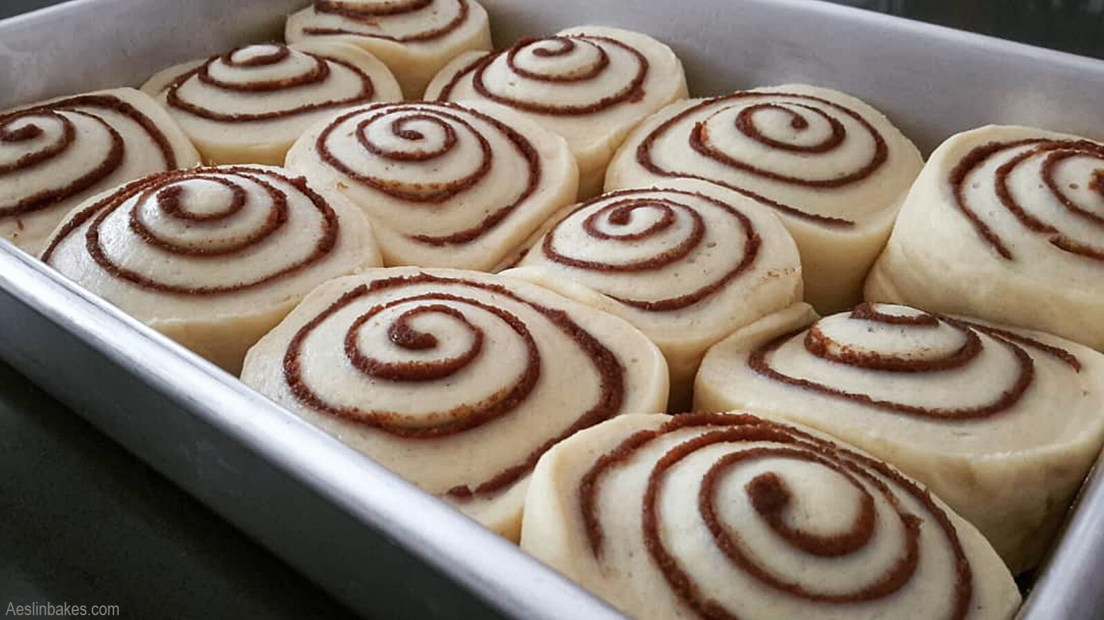 9x13 inch pan of cinnamon rolls