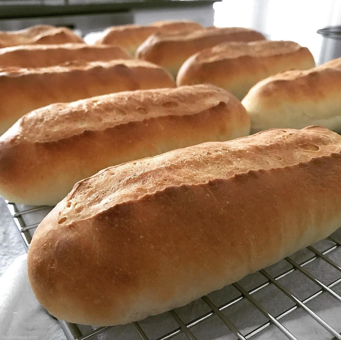 Hotdog buns cooling wide