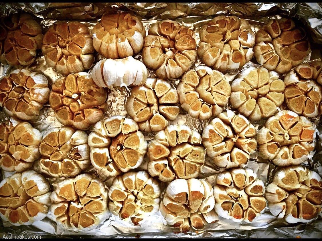 pan of roasted garlic